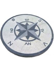 Kompassrose i granitt Ø120cm 8 punkter - N-NØ-NV-S-SØ-SV-V-Ø