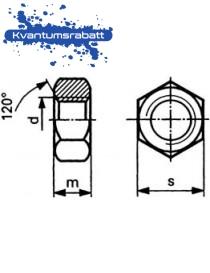 Mutter M16 6-kant DIN 934 8 VZ varmgalvanisert