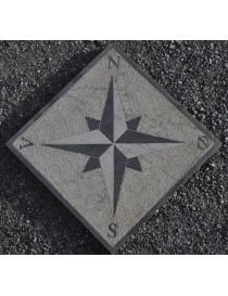 Kompassrose i granitt 120x120x5cm 4 punkter - N-S-V-Ø (norske symboler)