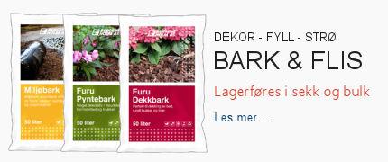 Bark og flis leveres både i sekk og bulk