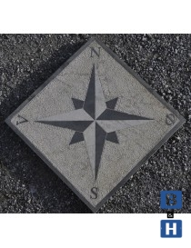 Kompassrose i granitt 100x100x5cm 4 punkter - N-S-V-Ø (norske symboler)