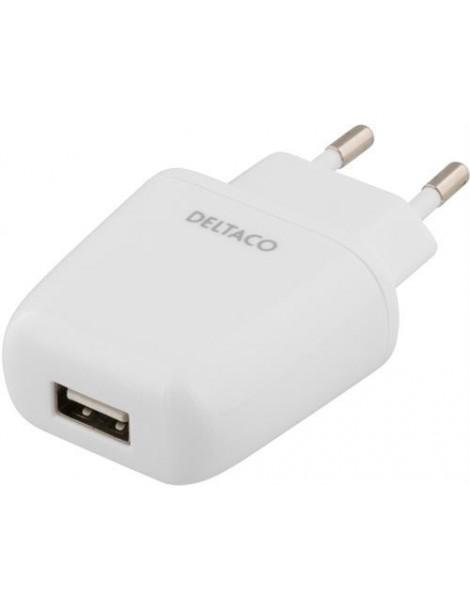 Strømadapter lader 230V til 5V USB A inngang, 2.4A, hvit