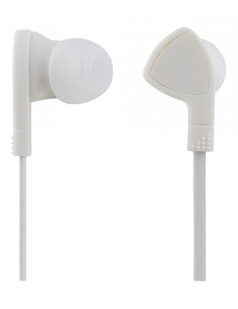 Headset in ear med mikrofon, svarknapp, anti krøll, hvit