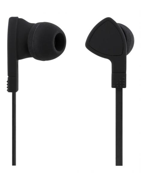 Headset in-ear med mikrofon, svarknapp, anti-krøll, svart