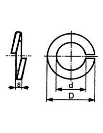Fjærskive / låseskive M8 DIN 127 ST VZ varmgalvanisert