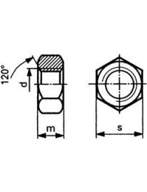 Mutter M6 6-kant DIN 934 8 VZ varmgalvanisert