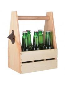 Flaskekasse i treverk med flaskeåpner C2060