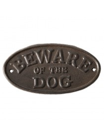 Beware of the dog - skilt i støpejern