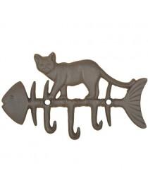 Krok for vegg, dobbel med stående katt på fiskebein