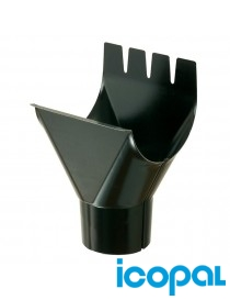 Nedløpskum 16 stål 125mm sort Icopal