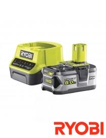 Batteri og lader 18V 5Ah Li-ion RC18120-150 Ryobi One+